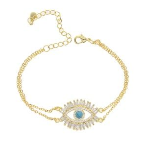 GOLD PLATED EVIL EYE CZ BLUE BRACELET 7 8 INCHES